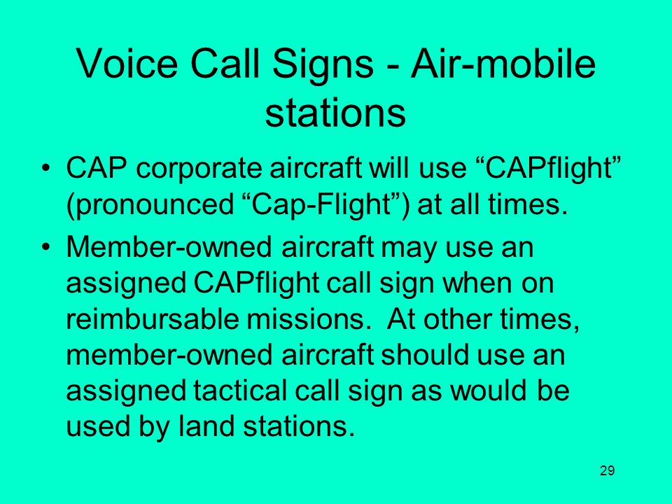 Voice Call Signs - Air-mobile stations