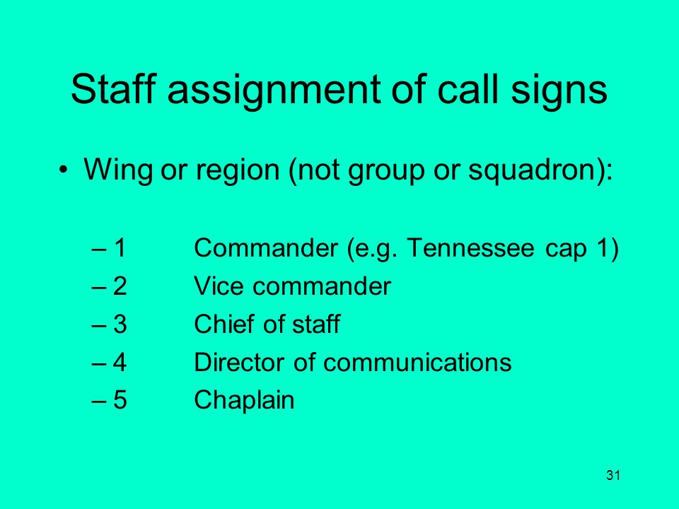 Staff assignment of call signs