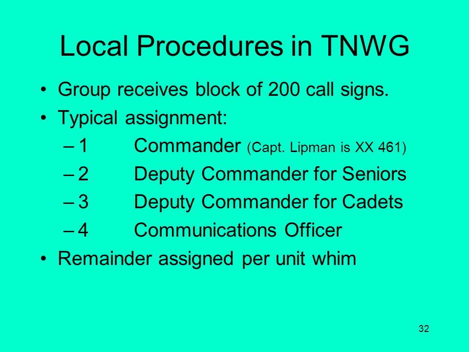 Local Procedures in TNWG