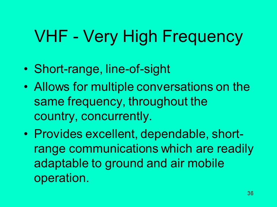 VHF - Very High Frequency