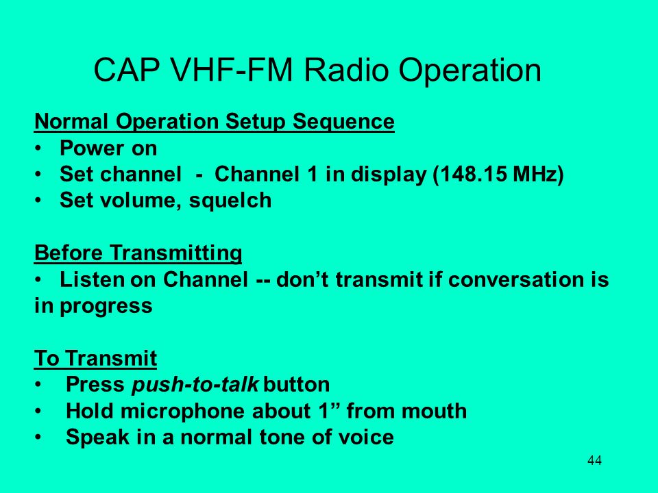 CAP VHF-FM Radio Operation