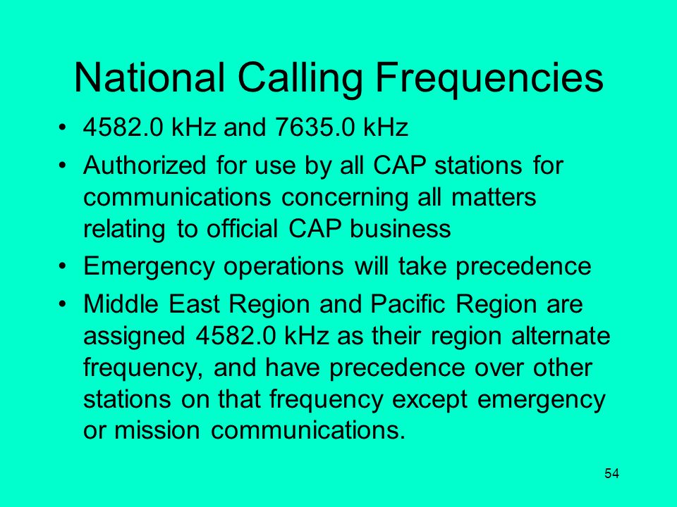 National Calling Frequencies