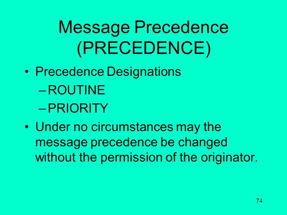 Message Precedence (PRECEDENCE)