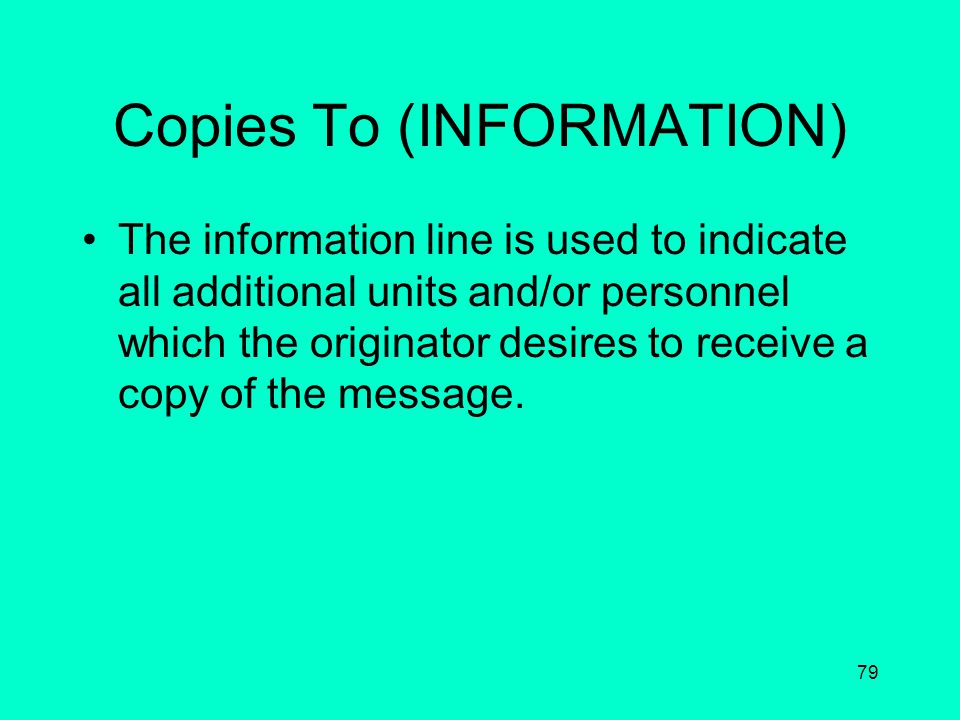 Copies To (INFORMATION)
