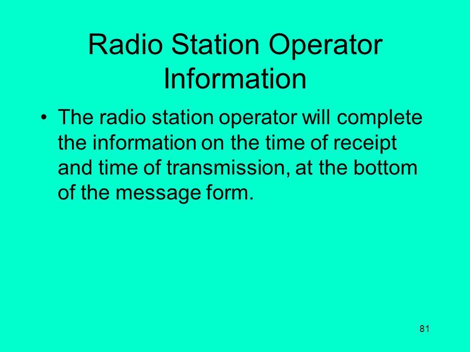 Radio Station Operator Information