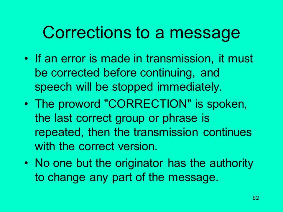 Corrections to a message