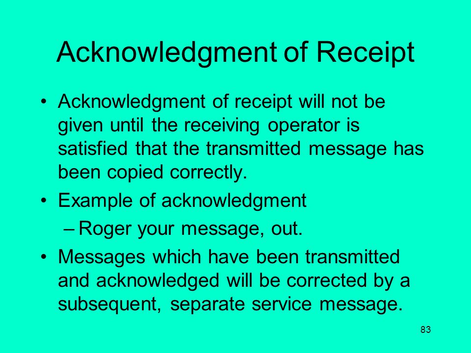 Acknowledgment of Receipt