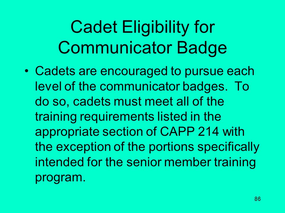 Cadet Eligibility for Communicator Badge