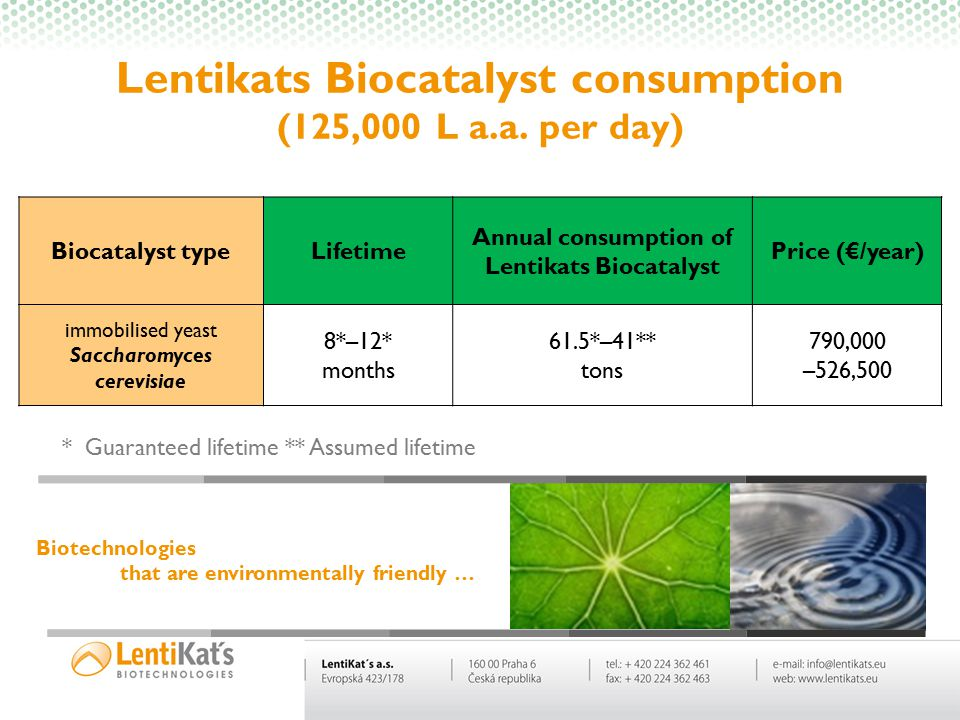 Lentikats Biocatalyst consumption (125,000 L a.a. per day)