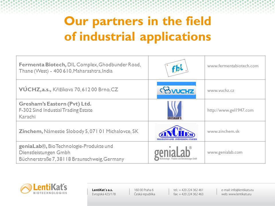 Our partners in the field of industrial applications