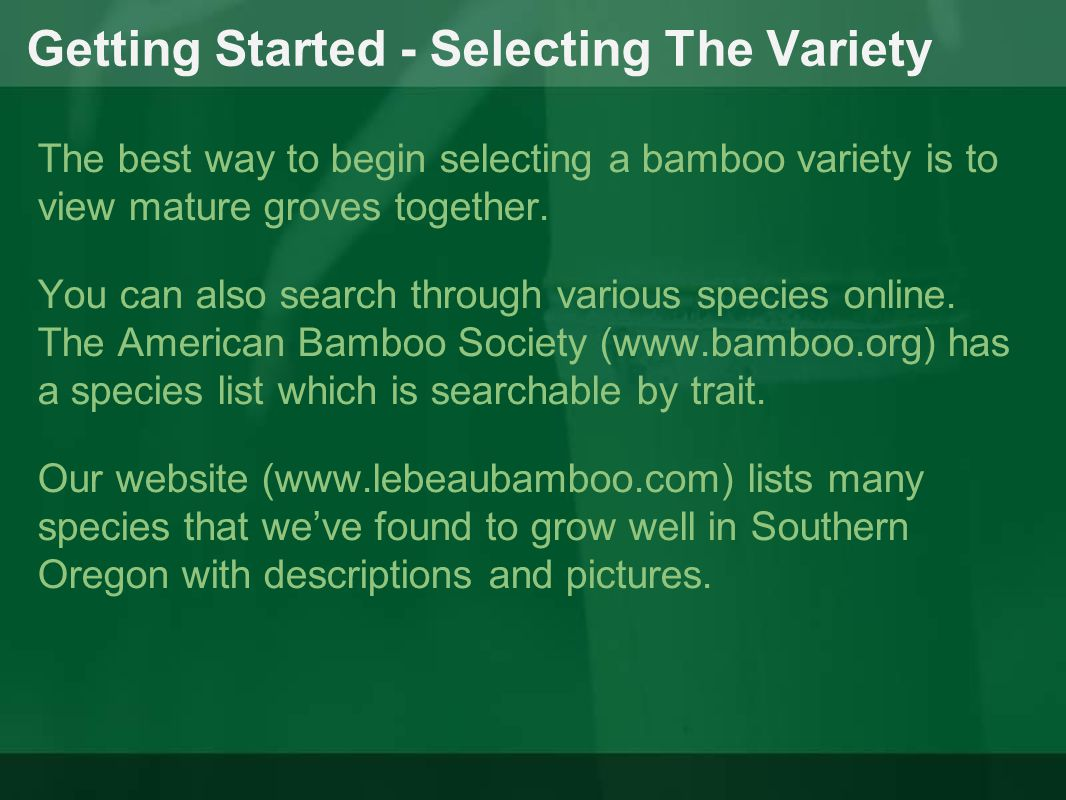 Getting Started - Selecting The Variety