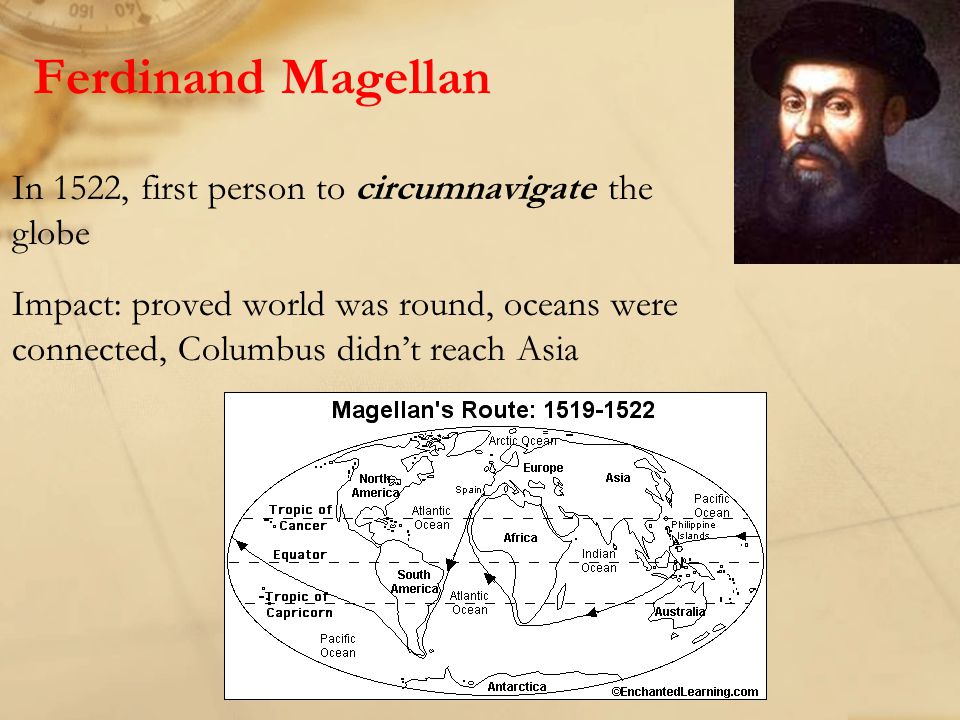 Ferdinand Magellan In 1522, first person to circumnavigate the globe