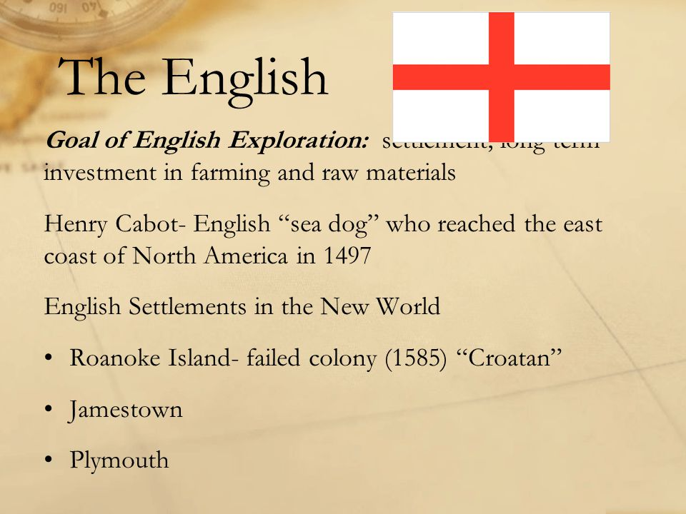 The English Goal of English Exploration: settlement; long term investment in farming and raw materials.