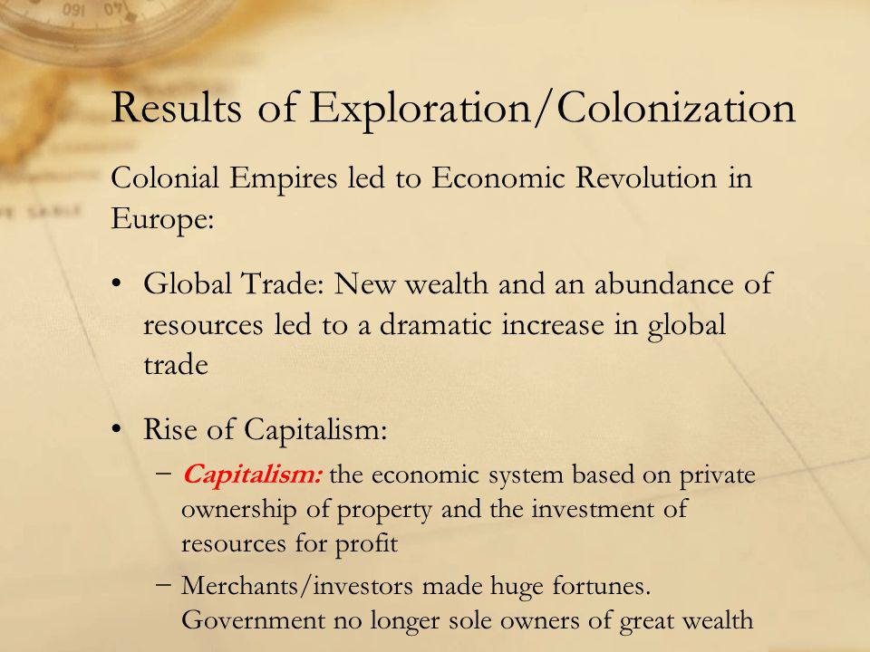 Results of Exploration/Colonization