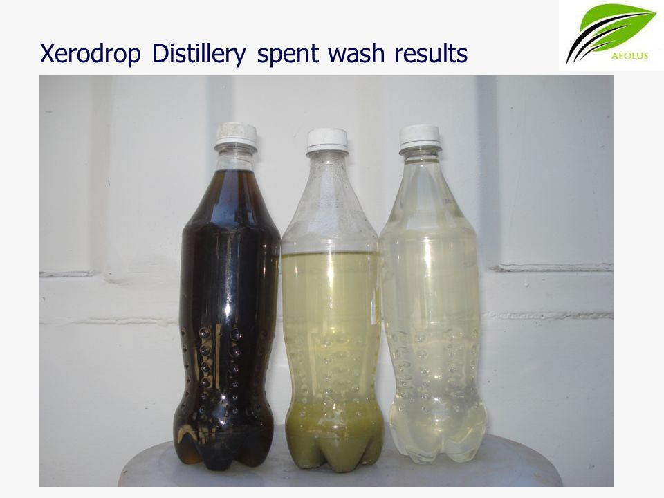 Xerodrop Distillery spent wash results