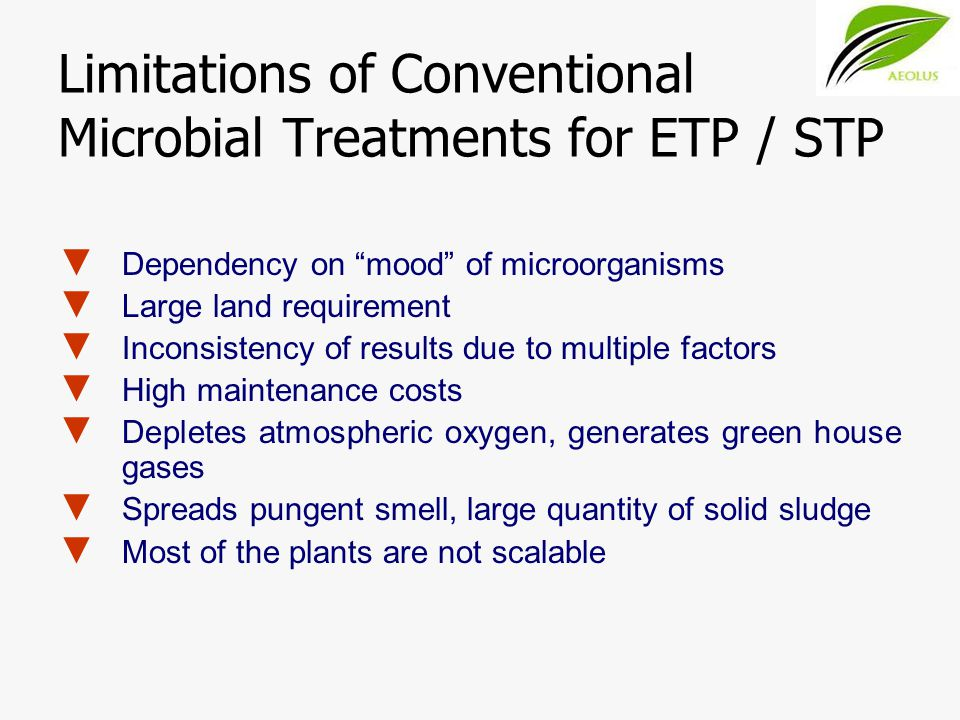 Limitations of Conventional Microbial Treatments for ETP / STP