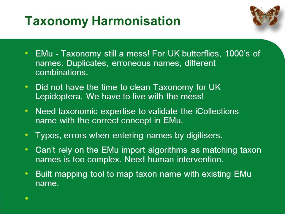 Taxonomy Harmonisation