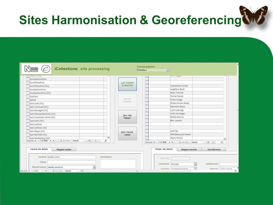 Sites Harmonisation & Georeferencing