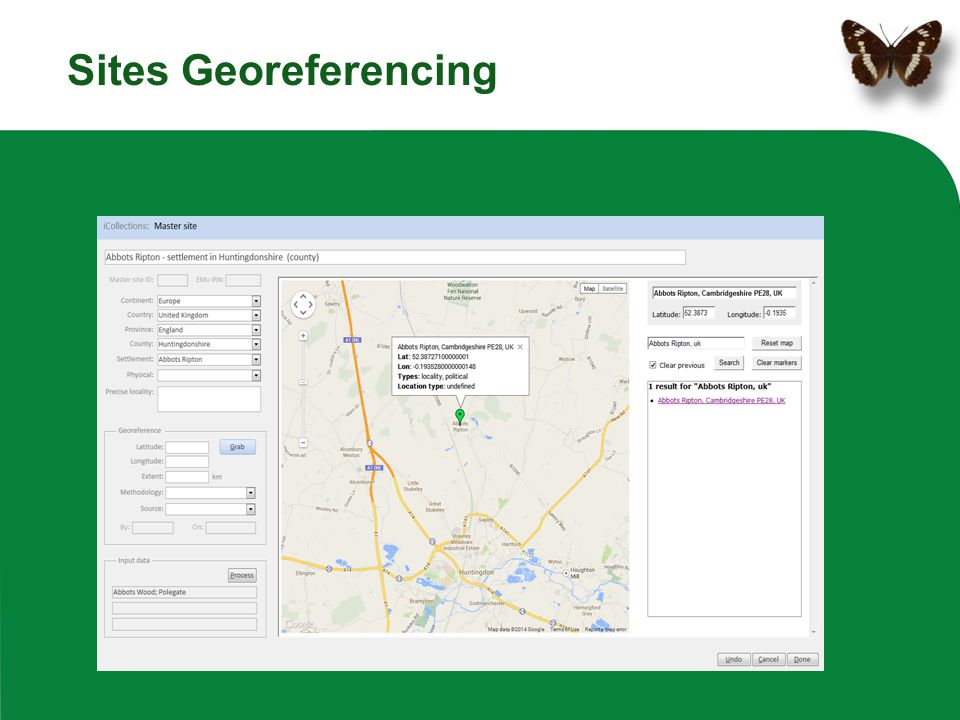 Sites Georeferencing