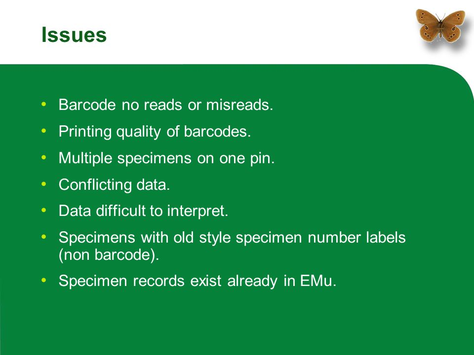 Issues Barcode no reads or misreads. Printing quality of barcodes.