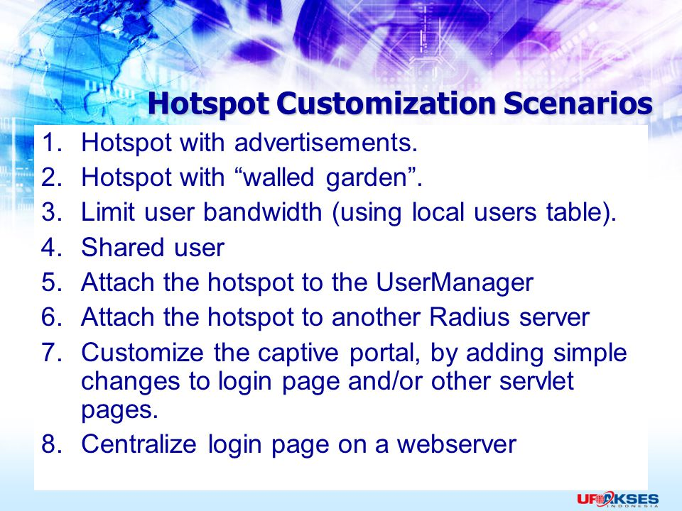 Hotspot Customization Scenarios