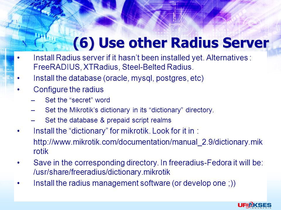(6) Use other Radius Server