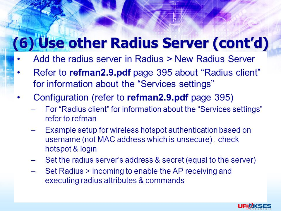 (6) Use other Radius Server (cont'd)