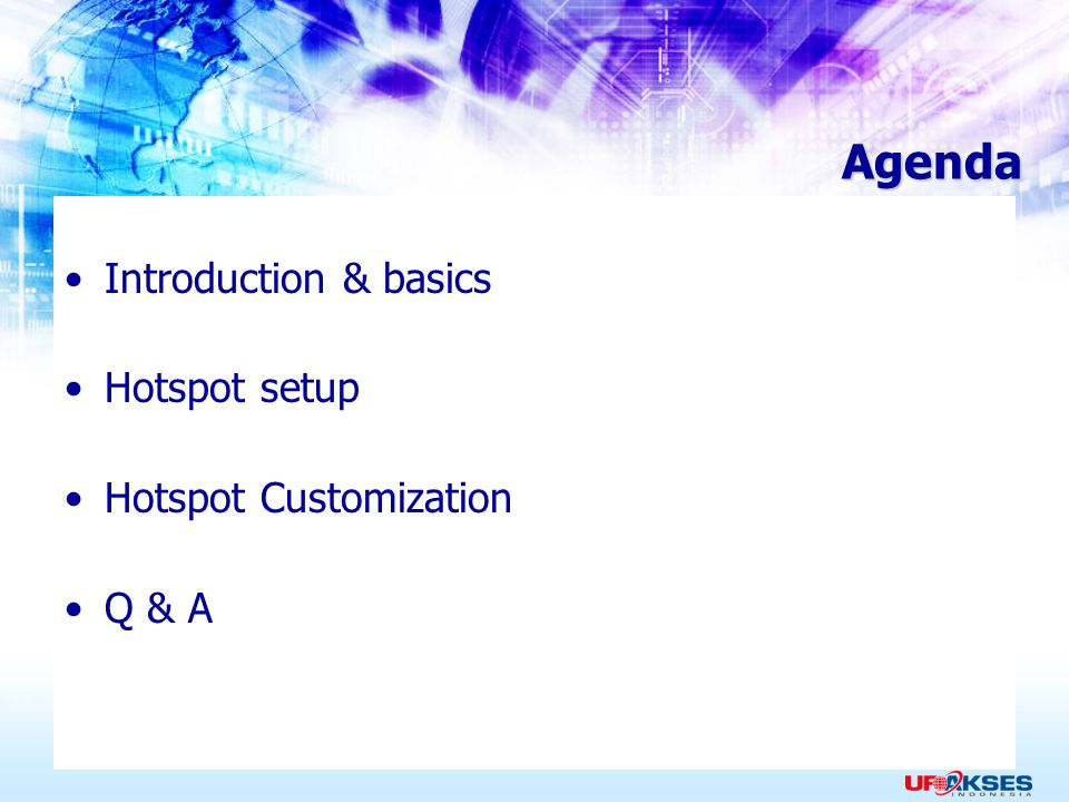 Agenda Introduction & basics Hotspot setup Hotspot Customization Q & A