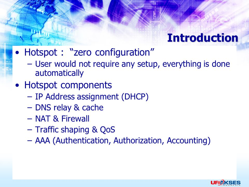 Introduction Hotspot : zero configuration Hotspot components