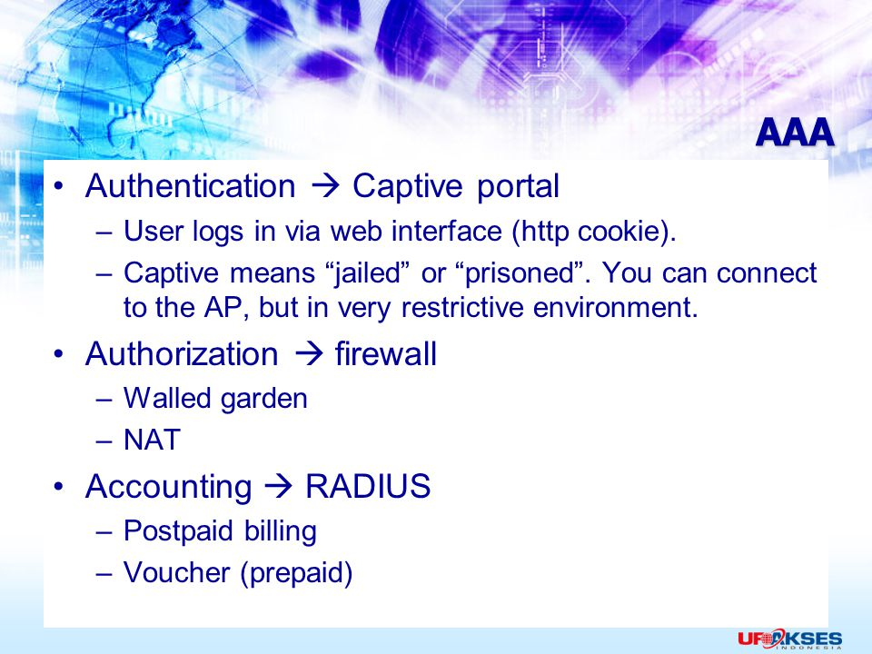AAA Authentication  Captive portal Authorization  firewall