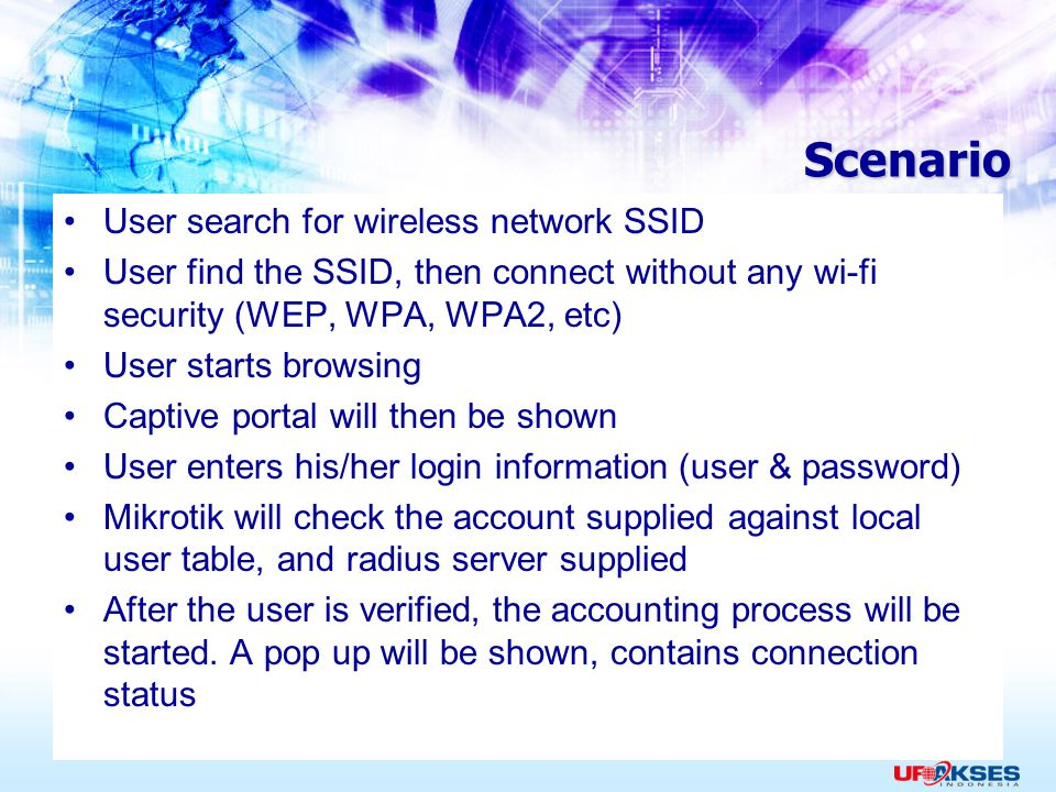 Scenario User search for wireless network SSID