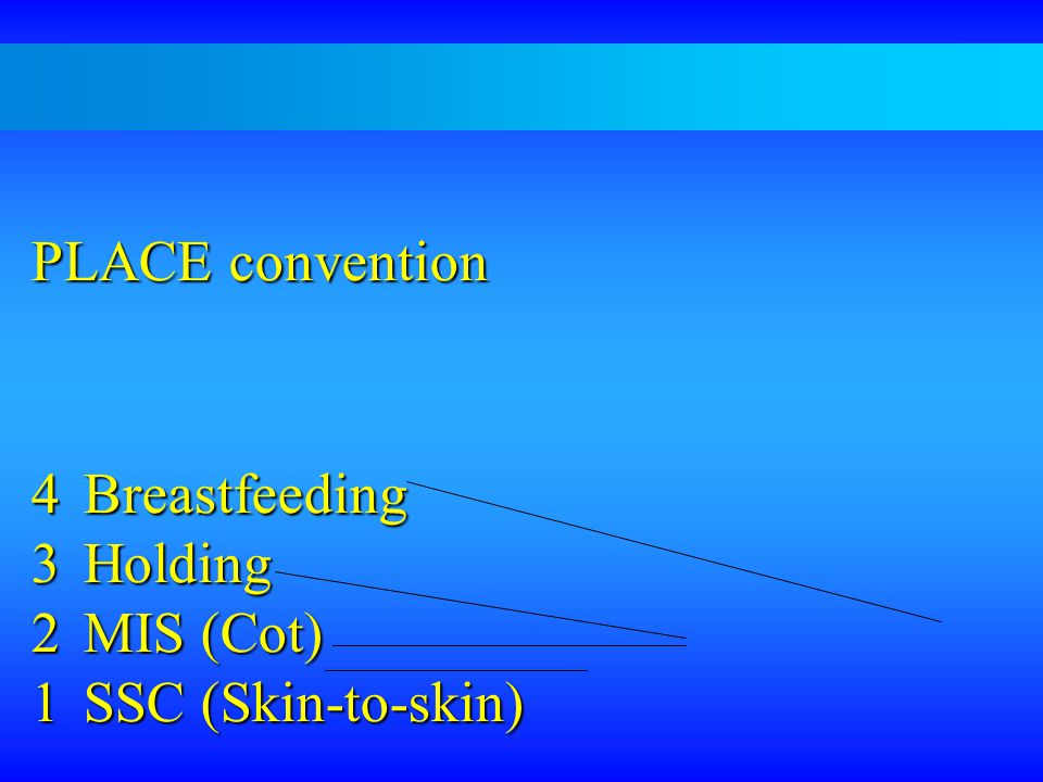 PLACE convention Breastfeeding Holding MIS (Cot) 1 SSC (Skin-to-skin)