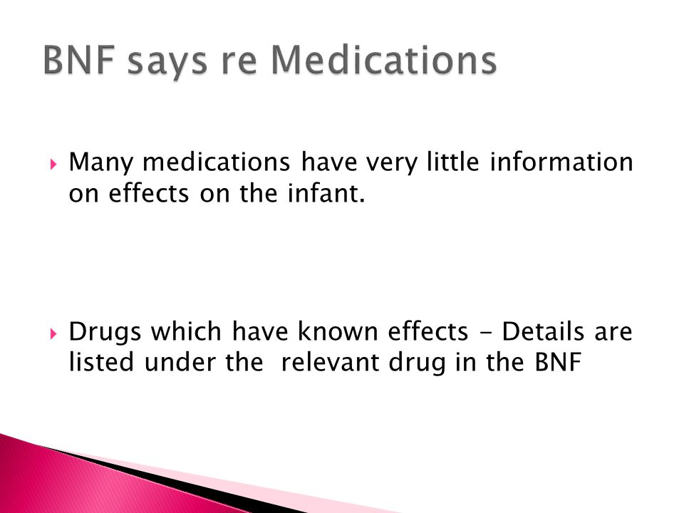 BNF says re Medications