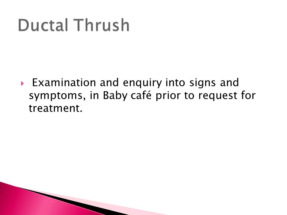 Ductal Thrush Examination and enquiry into signs and symptoms, in Baby café prior to request for treatment.