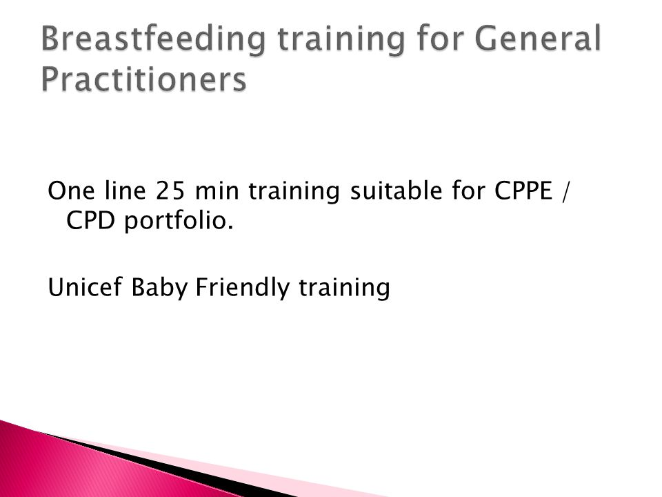 Breastfeeding training for General Practitioners