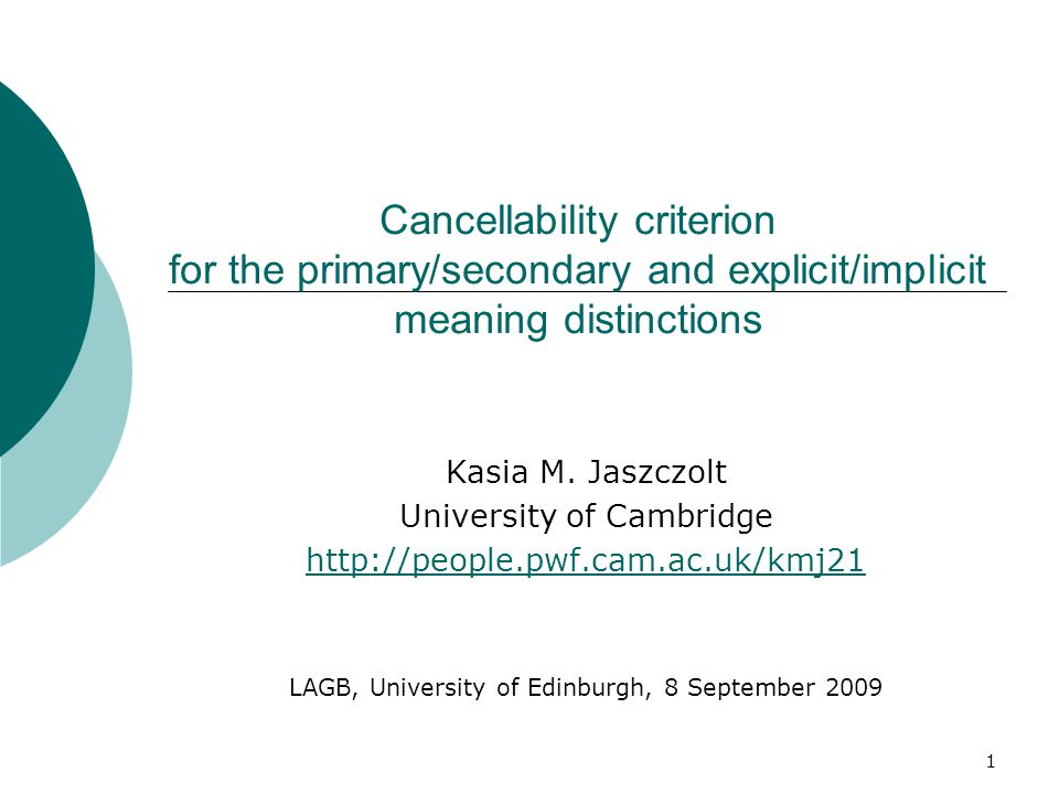 Cancellability criterion for the primary/secondary and explicit/implicit meaning distinctions