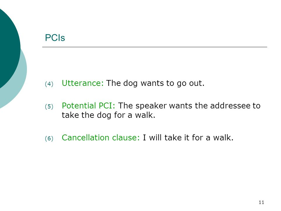 PCIs Utterance: The dog wants to go out.