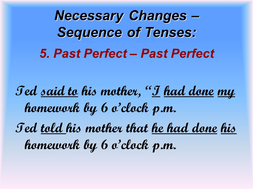 Necessary Changes – Sequence of Tenses: