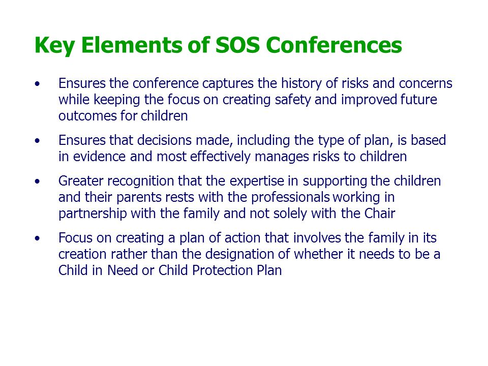 Key Elements of SOS Conferences