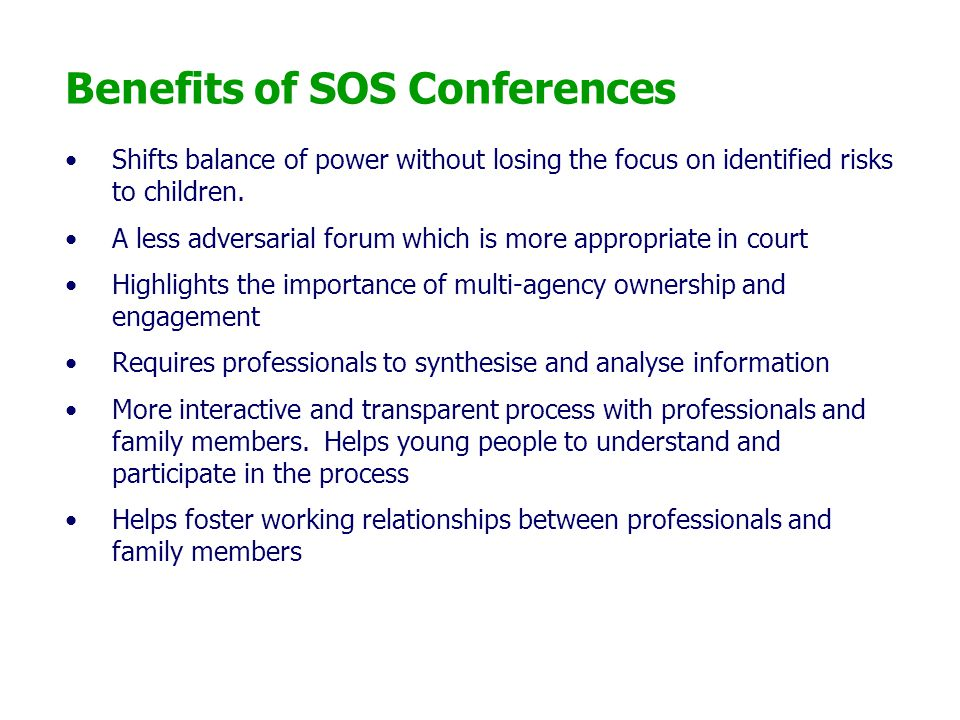 Benefits of SOS Conferences
