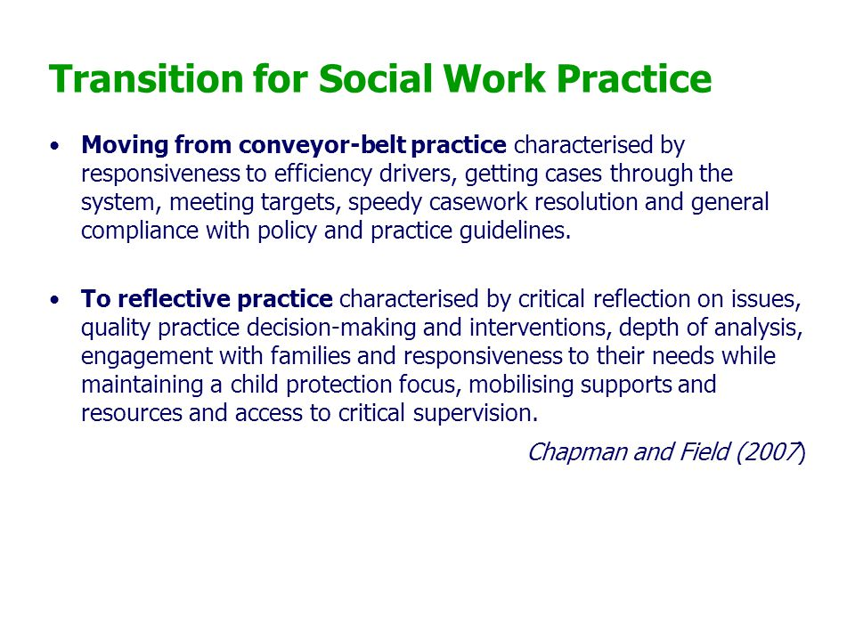 Transition for Social Work Practice