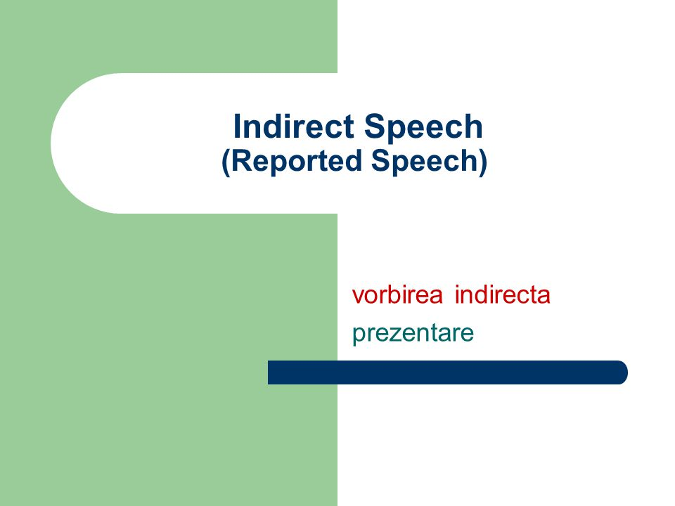 Indirect Speech (Reported Speech)