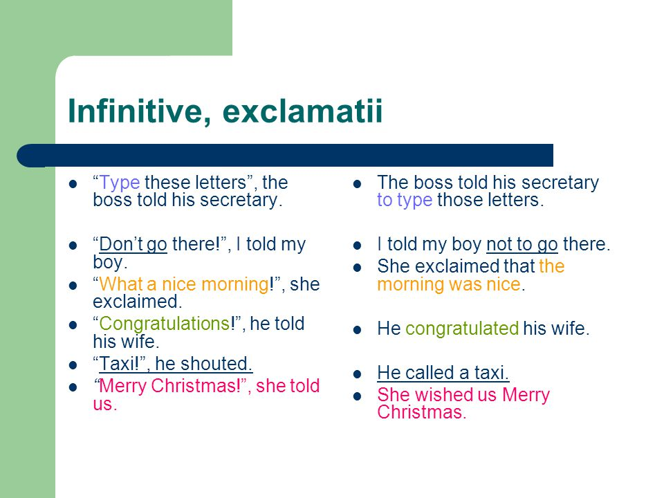 Infinitive, exclamatii