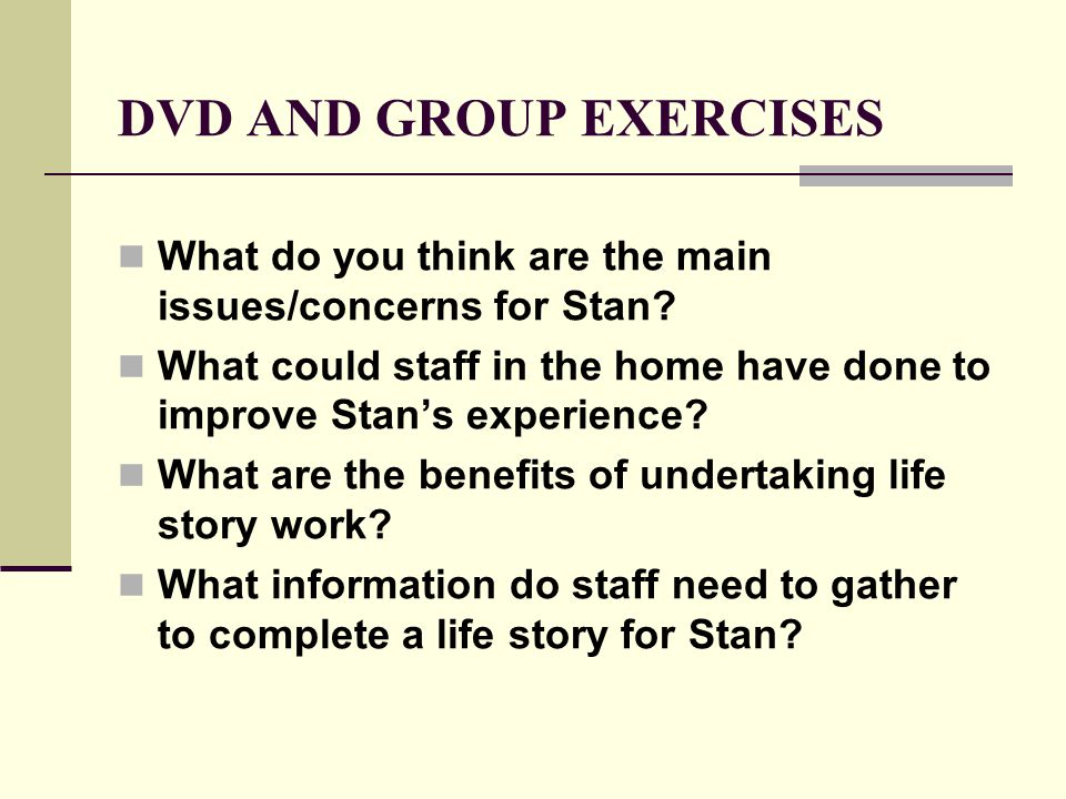 DVD AND GROUP EXERCISES