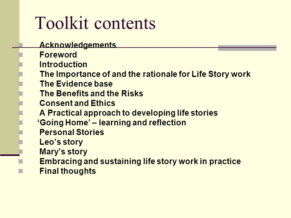 Toolkit contents Acknowledgements Foreword Introduction