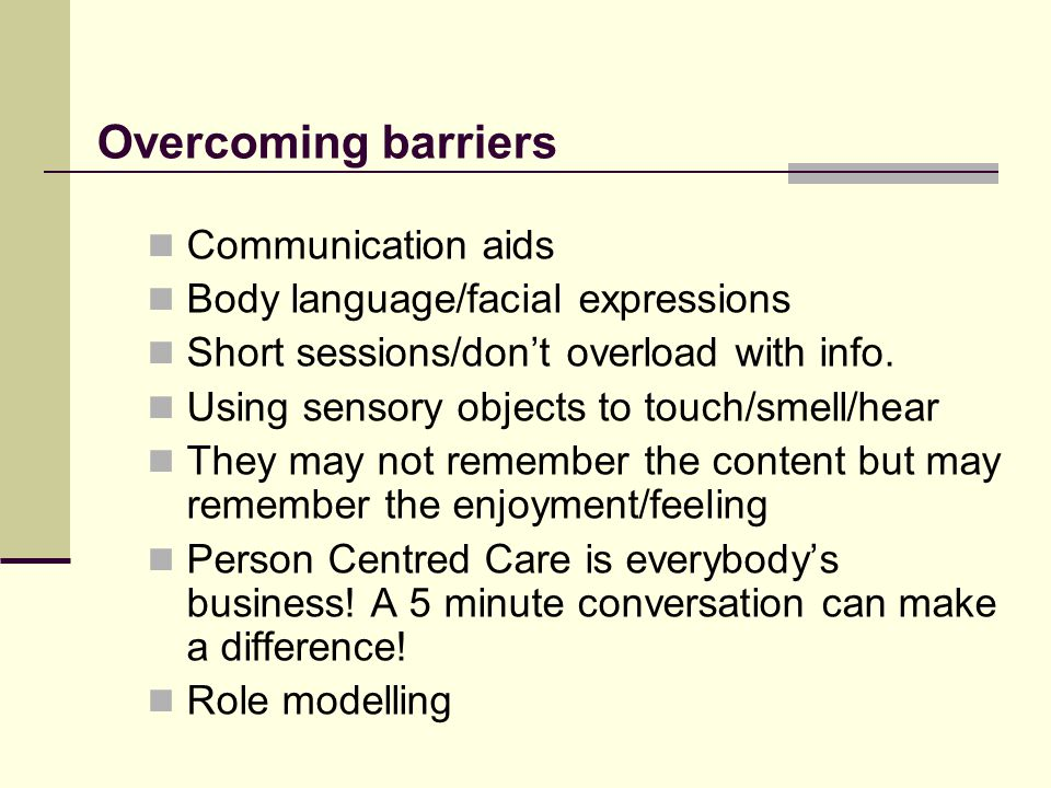 Overcoming barriers Communication aids