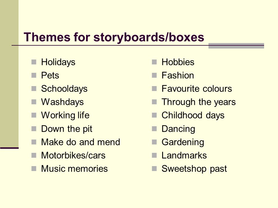 Themes for storyboards/boxes