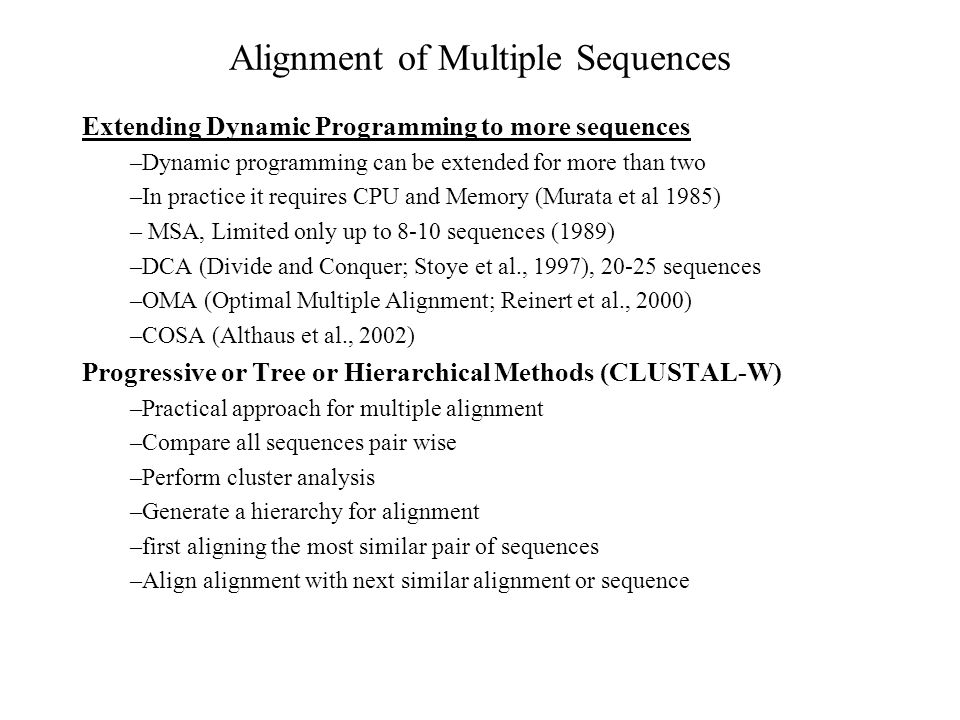 Alignment of Multiple Sequences
