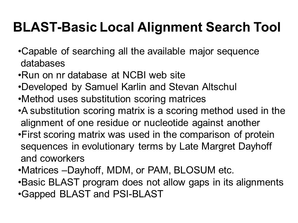 BLAST-Basic Local Alignment Search Tool