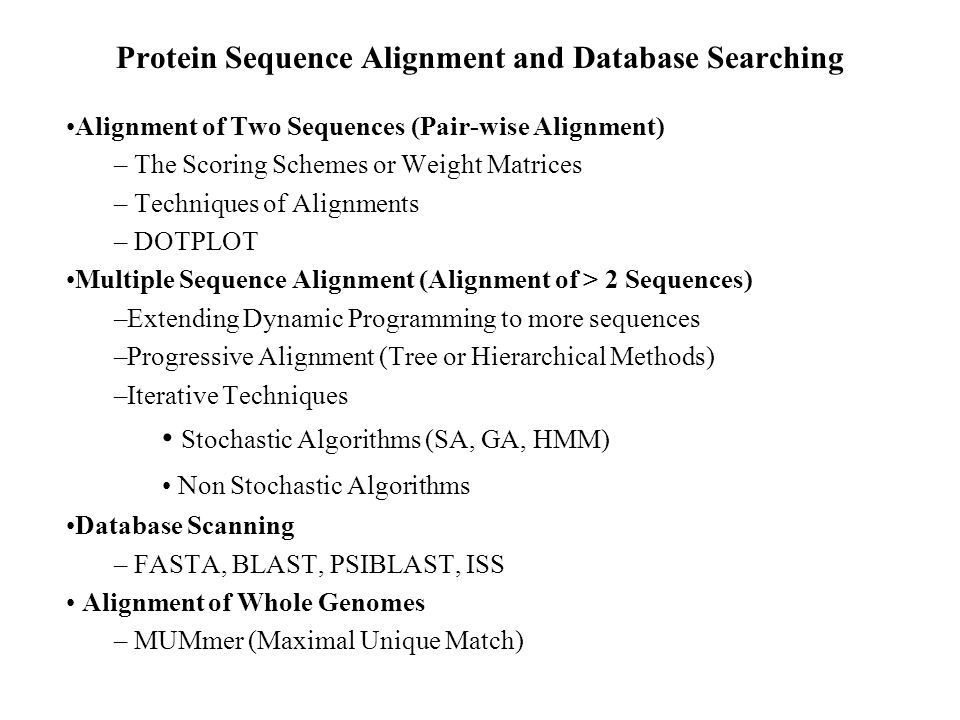 Protein Sequence Alignment and Database Searching